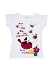 Inmark Girls White Printed T-shirt