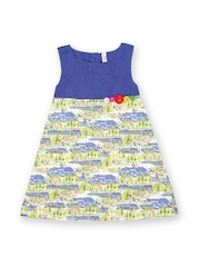 Inmark Girls Blue & Off-White Printed A-line Dress