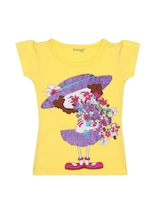 Inmark Girls Yellow Printed T-shirt