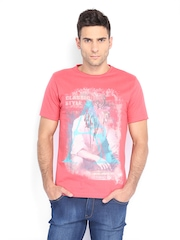 Inmark Men Coral Red Printed T-shirt