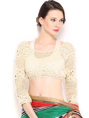 Ira Soleil Cream-Coloured Crochet Stitched Saree Blouse