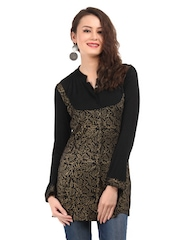 Ira Soleil Women Black & Gold Tinsel Kurti