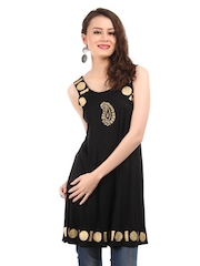Ira Soleil Women Black & Gold Tinsel Kurta