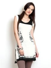 Ira Soleil Women White & Black Printed Kurta