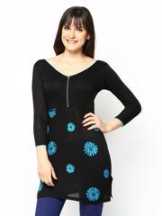 Ira Soleil Women Black Floral Print Tunic
