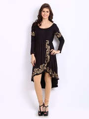 Ira Soleil Women Black Printed High-Low Kurta