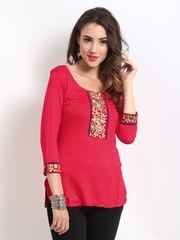 Ira Soleil Red Kurti with Embroidered Detail