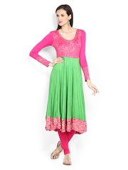 Ira Soleil Women Pink & Lime Green Printed Anarkali Kurta