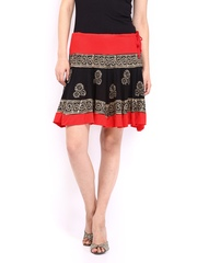 Ira Soleil Women Red & Black Printed Skirt