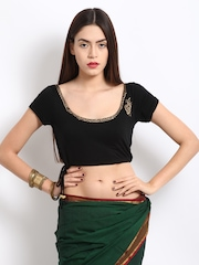 Ira Soleil Black Printed Stitched Saree Blouse