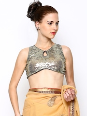 Ira Soleil Golden-Coloured Sequined Stitched Saree Blouse