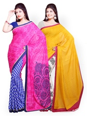 Ishin Set Of Two Crepe Printed Sarees