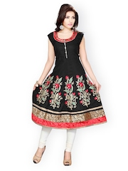 Ishin Women Black Embroidered Kurta