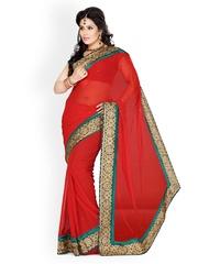 Ishin Red Chiffon Bridal Saree