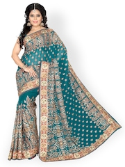 Ishin Blue Faux Georgette Bridal Saree
