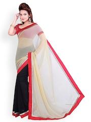 Ishin Multicoloured Half & Half Georgette Fashion Saree