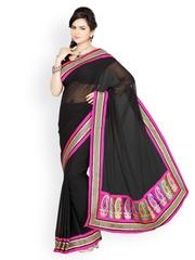 Ishin Black Georgette Fashion Saree