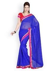 Ishin Blue Faux Chiffon Fashion Saree