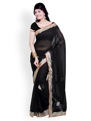 Ishin Black Georgette Embroidered Partywear Saree