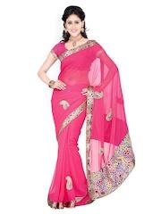Ishin Pink Chiffon Partywear Saree