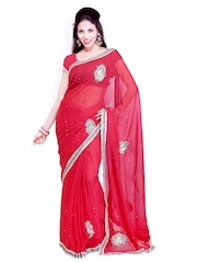 Ishin Red Georgette Embroidered Partywear Saree