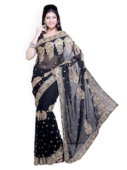 Ishin Black Embroidered Georgette Partywear Saree