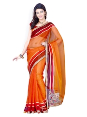 Ishin Orange Tissue Net Orange Partywear Saree