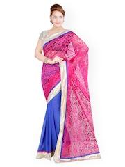 Ishin Pink & Blue Georgette Partywear Saree