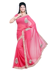 Ishin Pink Embroidered Georgette Partywear Saree