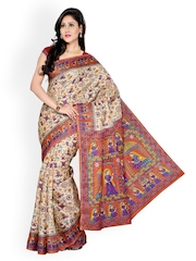Ishin Multi-Coloured Bhagalpuri Silk Printed Saree