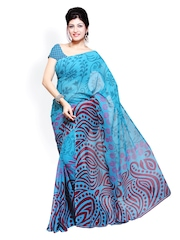 Ishin Blue Georgette Printed Saree