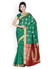Ishin Green Art Silk Traditional Saree