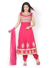 Ishin Women Pink Embroidered Anarkali Churidar Kurta with Dupatta