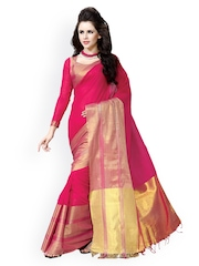 Ishin Pink Cotton Traditional Saree