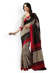 Ishin Beige & Black Bhagalpuri Art Silk Traditional Saree