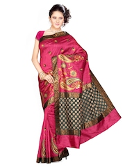 Ishin Pink Printed Cotton Tussar Traditional Saree