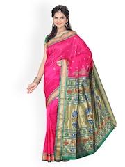 Ishin Pink Paithani Tana Silk Traditional Saree