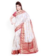 Ishin White Silk Traditional Saree