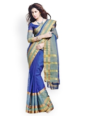 Ishin Blue Cotton Traditional Saree