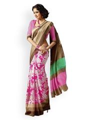 Ishin Beige & Pink Bhagalpuri Art Silk Traditional Saree