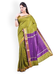 Ishin Green Silk Traditional Saree