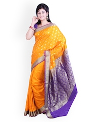 Ishin Yellow Art Silk Traditional Saree