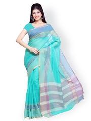 Ishin Blue Cotton Traditional Saree