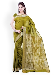 Ishin Green Printed Baluchari Traditional Saree