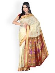 Ishin White Paithani Tana Silk Traditional Saree