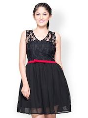 Iti Black Lace Fit & Flare Dress