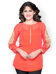 Iti Women Coral Orange Sheer Top
