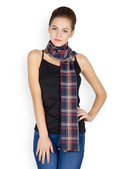 J Style Women Navy Blue Striped Scarf