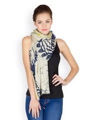 J Style Women Yellow Printed Scarf