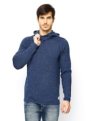 Jack & Jones Men Blue Hooded Sweater
